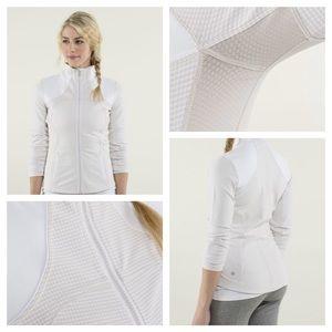 Lululemon Forme Jacket Gingham 'Dune' White (Sz 4)